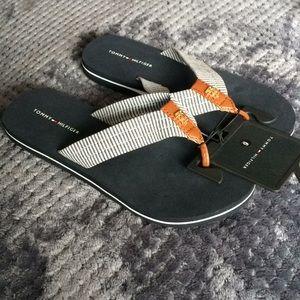 Tommy Hilfiger Navy Fabric Flip Flops